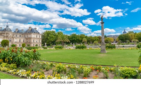 Paris, Luxembourg garden, beautiful flowerbeds in spring, with the Senat in background