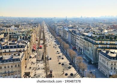 PARIS - MAR 2: External daylight general view of Paris on March 2, 2014 in Paris, France.