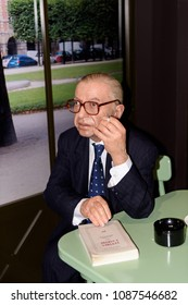PARIS - MAR 30, 2018: Jean Paul Sartre, French writer and philosopher, Wax Museum Grevin in Paris, France