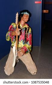 PARIS - MAR 30, 2018: jimi Hendrix, Music area, Wax Museum Grevin in Paris, France