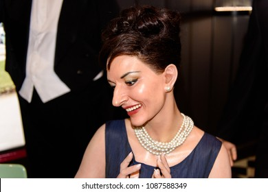 PARIS - MAR 30, 2018: Maria Callas, Greek singer and actress,  Wax Museum Grevin in Paris, France