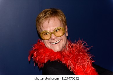 PARIS - MAR 30, 2018:  Sir Elton John,English singer, pianist, and composer,  the Wax Museum Grevin in Paris, France