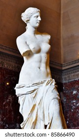 PARIS - MARCH 17: Statue of Venus de Milo at Louvre Museum in Paris on March 17, 2011. An ancient Greek statue created from marble between 130-100 BC. It is one of the most famous statues in the world