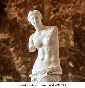 PARIS - MARCH 18, 2015: Aphrodite of Milos also known as Venus de Milo, a famous ancient Greek statue