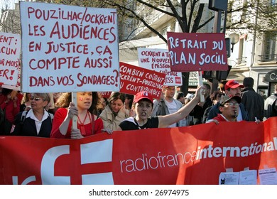 PARIS - MARCH 19: Radio France International demonstrates during France's nationwide strike, to demand social security and protection form the crisis, on March 19, 2009, in Paris, France