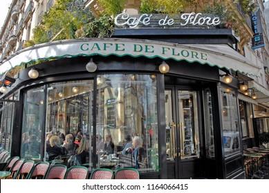 Paris - March 24, 2006: Cafe de Flore in Paris.