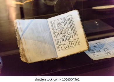 PARIS - MARCH 30, 2018: Book in the Musee de la Franc-Maconnerie, a museum of Freemasonry