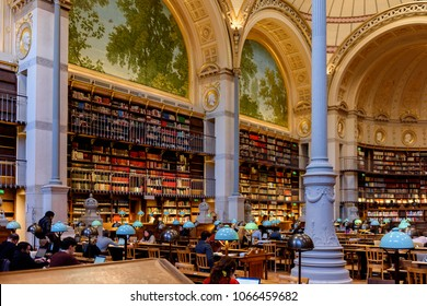PARIS - MARCH 30, 2018:  Interior of the National library of France, located on the  Rue de Richelieu
