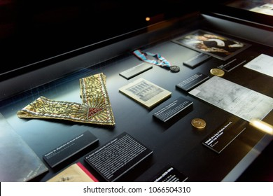 PARIS - MARCH 30, 2018: Interior of the Musee de la Franc-Maconnerie, a museum of Freemasonry