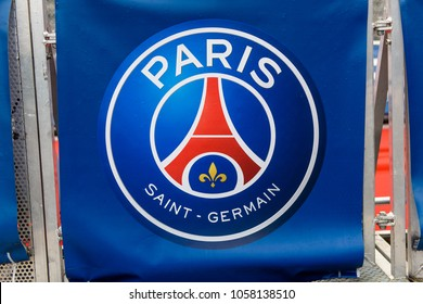 PARIS - MARCH 30, 2018: Logo of the French Ligue 1 football club Paris Saint-Germain near the Parc des Princes stadium