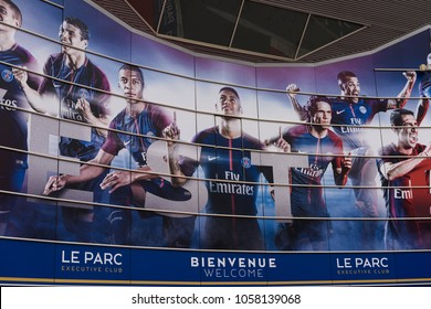 PARIS - MARCH 30, 2018: Neymar, Cavani and Mbappe image on the main entrance of the Parc des Princes stadium, the home pitch of the French Ligue 1 football club Paris Saint-Germain
