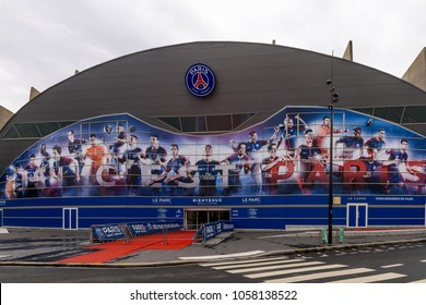 PARIS - MARCH 30, 2018: Whole PSG team on the main entrance of the Parc des Princes stadium, the home pitch of the French Ligue 1 football club Paris Saint-Germain