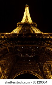 PARIS - MAY 08 : Eiffel tower at night on May 08, 2011 in Paris. The Eiffel tower is the most visited monument of France.