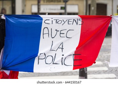 PARIS - MAY 08: Memory place to Xavier Jugelé, officer killed on Champs-Elysées by Daesh on April 20. 2017 in France