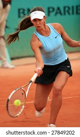 PARIS - MAY 21: Russian professional tennis player ANASTASIA PIVOVAROVA during her match at French Open, Roland Garros on May 21, 2008 in Paris, France.