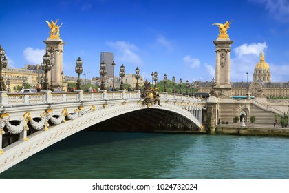 PARIS - MAY 27, 2016: Famous Pont Alexandre III bridge over the river Seine on sunny day in Paris