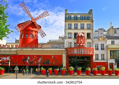 PARIS - MAY 28, 2016: Moulin Rouge. Moulin Rouge is a famous Parisian cabaret built in 1889, located in red-light district of Pigalle on Boulevard de Clichy