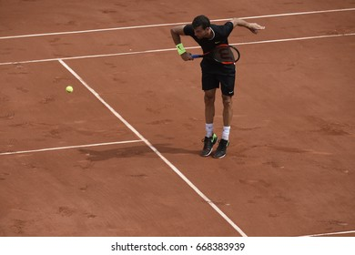 PARIS - MAY 28:  Grigor Dimitrov (BUL)  competes against Stephane Robert (FRA) in round 1 at The French Open on May 28, 2017 in Paris, France.