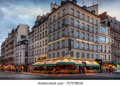 PARIS - MAY 29, 2016: Hotel near Notre Dame de Paris cathedral in the springtime.