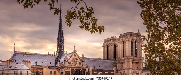 PARIS - MAY 29, 2016: The roofline of Notre Dame de Paris cathedral in Paris during the springtime.