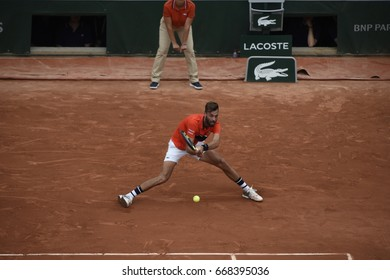 PARIS - MAY 29:  Benoit Paire (FRA) competes against Rafael Nadal (ESP) in round 1 at The French Open on May 29, 2017 in Paris, France.