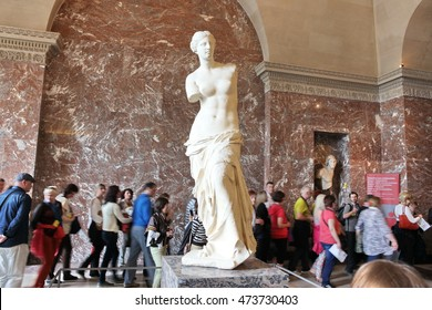 PARIS - MAY 3: Venus de Milo at the Louvre Museum May 3 2013 Paris, France. Louvre is the biggest Museum in Paris displayed over 60,000 sq.M of exhibition space, very popular culture site in the world