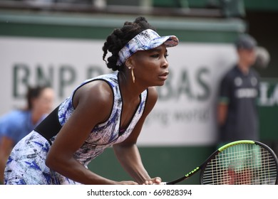 PARIS - MAY 31:  Venus Williams (USA) competes against Kurumi Nara (JPN) in round 2 at The French Open on May 31, 2017 in Paris, France.