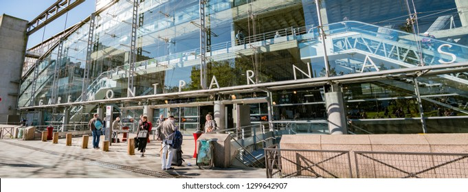 Paris, MAY 7: Exterior view of the Gare Montparnasse station on MAY 7, 2018 at Paris, France