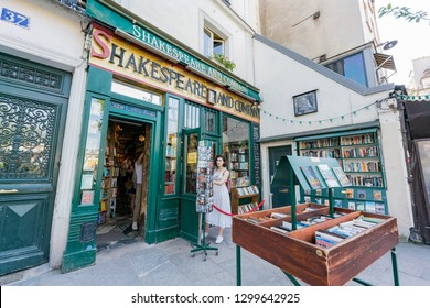 Paris, MAY 7: Exterior view of the Shakespeare and Company on MAY 7, 2018 at Paris, France