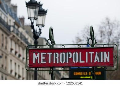 Paris Metro Metropolitain Sign