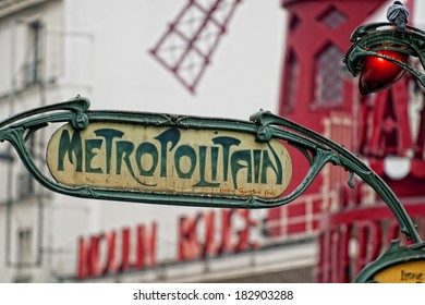 Paris Metro Metropolitain Sign near Moulin Rouge