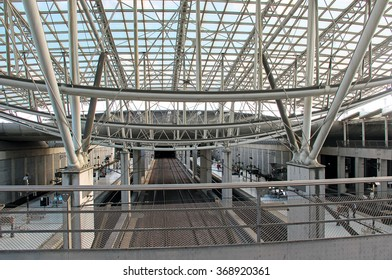 Paris metro station at airport with beautiful roofs