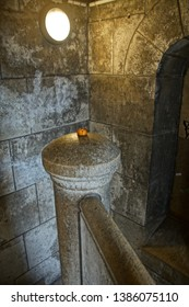paris montmartre france 20 july 2012 interiors of the cathedral a little stairs with a candle  and also outside view