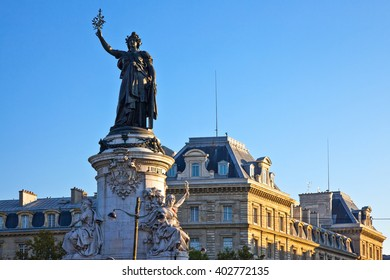 Paris, the monument to the Republic with the symbolic statue of Marianna, in Place de la Republique