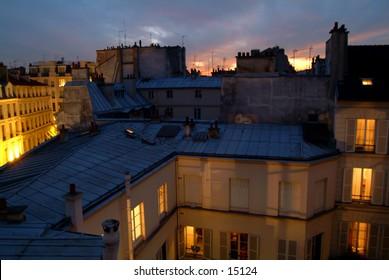 Paris neighborhood at sunset
