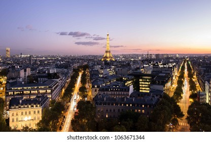 Paris night with Eiffel Tower, France, October 15, 2017