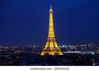 Paris night with Eiffel Tower, France, May 11, 2018