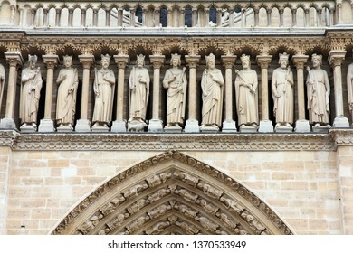Paris Notre Dame Cathedral architecture. French Gothic landmark.