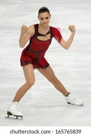 PARIS - NOVEMBER 15, 2013: Adelina SOTNIKOVA of Russia performs during ladies' short skating event at Eric Bompard Trophy 2013 in Palais-Omnisports de Bercy, Paris, France.