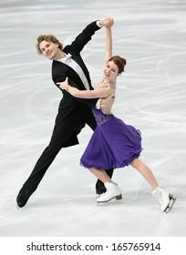 PARIS - NOVEMBER 15, 2013: Nicole ORFORD / Thomas WILLIAMS of Canada perform short dance at Eric Bompard Trophy 2013 in Palais-Omnisports de Bercy, Paris, France.