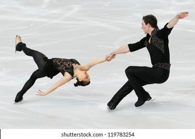 PARIS - NOVEMBER 16: Daria POPOVA / Bruno MASSOT of France perform during pairs short skating event at Eric Bompard Trophy on November 16, 2012 at Palais-Omnisports de Bercy, Paris, France.