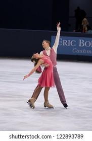 PARIS - NOVEMBER 16: Ekaterina RIAZANOVA / Ilia TKACHENKO of Russia perform at ice dance short dance event at Eric Bompard Trophy on November 16, 2012 at Palais-Omnisports de Bercy, Paris, France.