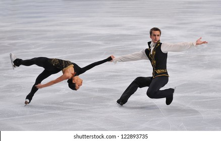 PARIS - NOVEMBER 16: Ksenia STOLBOVA /Fedor KLIMOV of France perform at pairs short program event at Eric Bompard Trophy on November 16, 2012 at Palais-Omnisports de Bercy, Paris, France.
