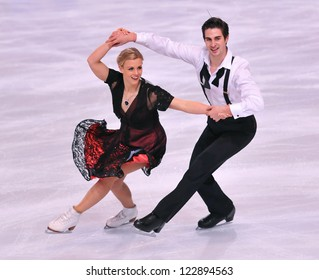 PARIS - NOVEMBER 16: Madison HUBBELL / Zachary DONOHUE of USA perform at ice dance short dance event at Eric Bompard Trophy on November 16, 2012 at Palais-Omnisports de Bercy, Paris, France.