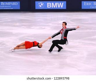 PARIS - NOVEMBER 17: Ksenia STOLBOVA /Fedor KLIMOV of France perform at pairs free skating event at Eric Bompard Trophy on November 16, 2012 at Palais-Omnisports de Bercy, Paris, France.