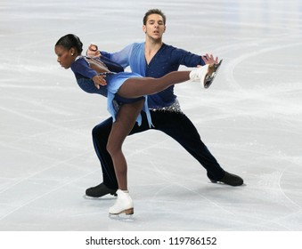 PARIS - NOVEMBER 17: Vanessa JAMES / Morgan CIPRES of France perform during pairs free skating event at Eric Bompard Trophy on November 17, 2012 at Palais-Omnisports de Bercy, Paris, France.