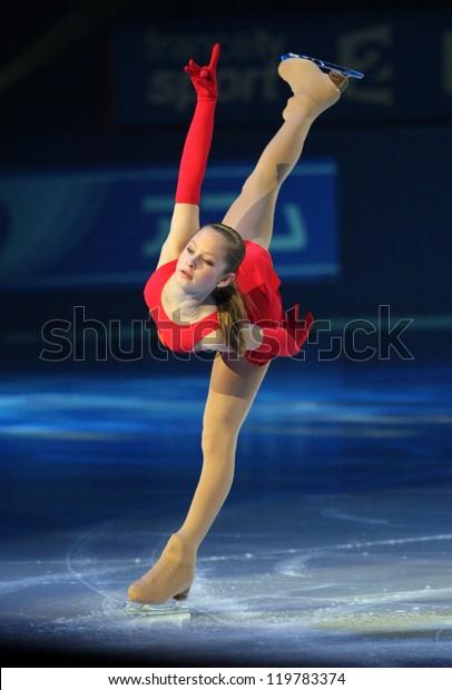 PARIS - NOVEMBER 18: Julia LIPNITSKAIA of Russia performs at the ISU Grand Prix Eric Bompard Trophy Gala event on November 18, 2012 at Palais-Omnisports de Bercy, Paris, France.