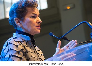 PARIS - NOVEMBER 28: Christiana Figueres, Executive Secretary of the United Nations Framework Convention on Climate Change, speaks during the COP21 climate summit in Paris, France, November 28, 2015.