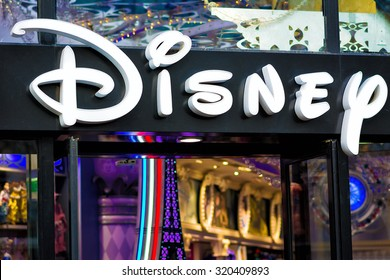 PARIS - NOVEMBER 29, 2014: Disney Store in Paris, on the famous Champs Elysees boulevard. It is the international chain of specialty stores selling only Disney related items, many of them exclusive.