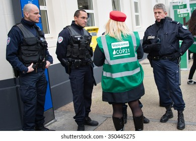 PARIS - NOVEMBER 29: French police stand guard at the Le Bourget metro station as delegates arrive for the COP21 United Nations climate summit in Paris, France, November 29, 2015.